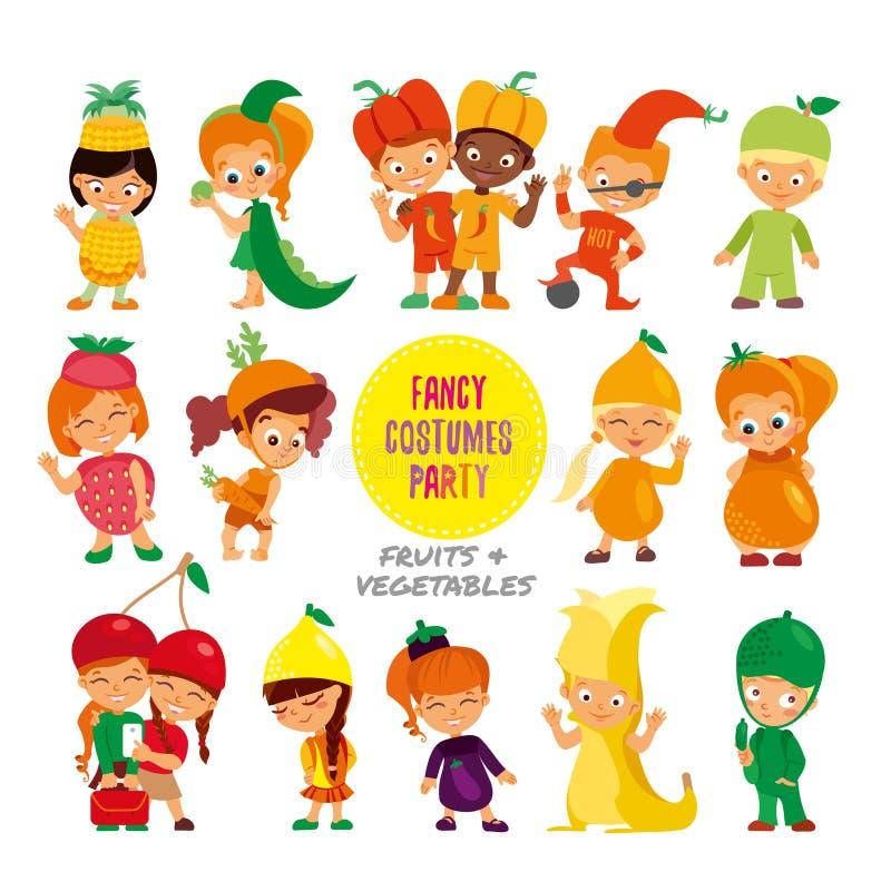 L'ensemble de bande dessinée mignonne badine dans des costumes de fantaisie de fruits et légumes illustration libre de droits