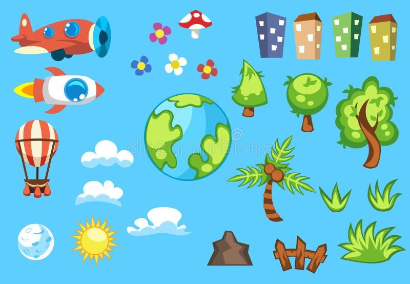 L'ensemble de bande dessinée objecte des maisons dans différentes couleurs, arbres verts, nuages blancs, terre de planète, soleil illustration stock