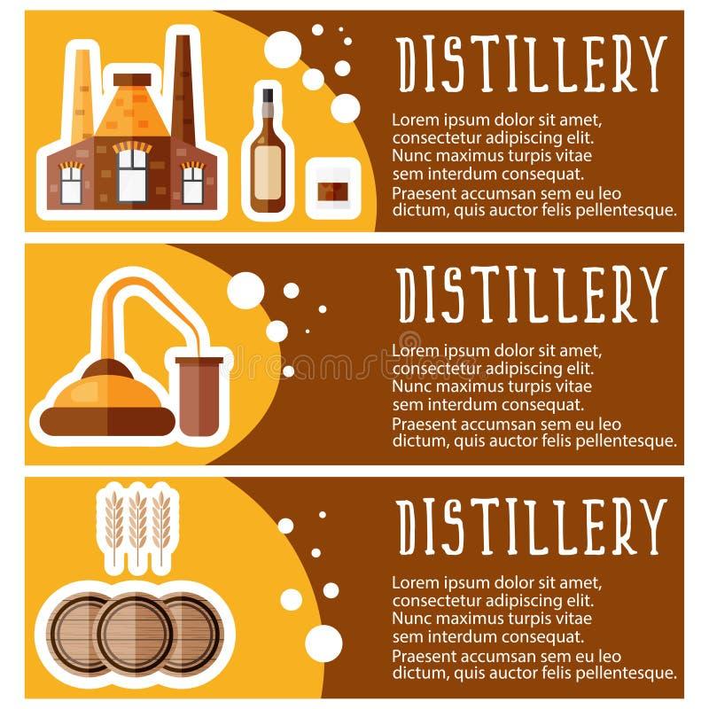 L'ensemble de bannière pour la distillerie d'industrie de distillerie objecte V illustration libre de droits