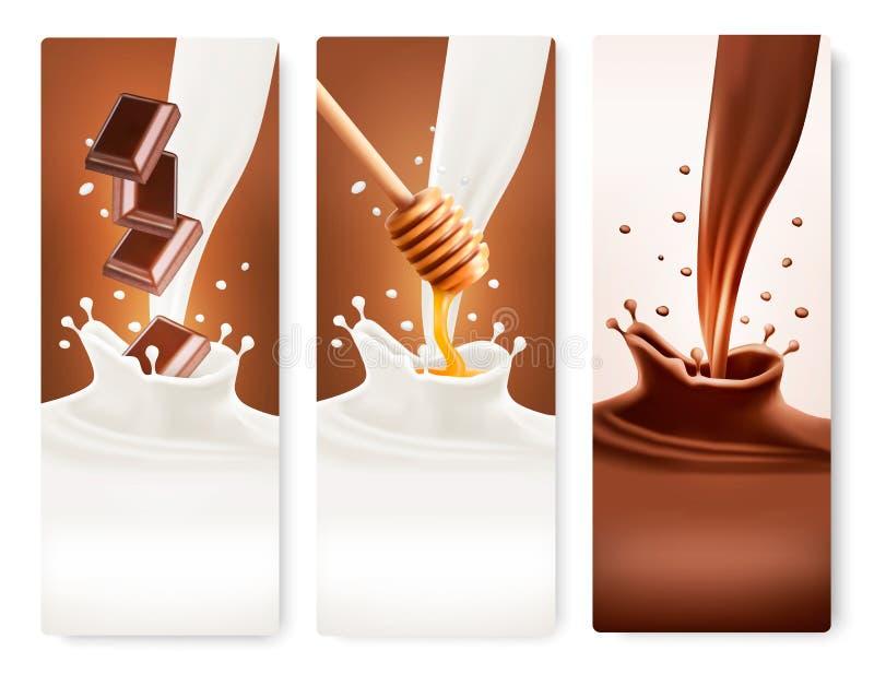 L'ensemble de bannières avec du chocolat et le lait éclabousse illustration de vecteur