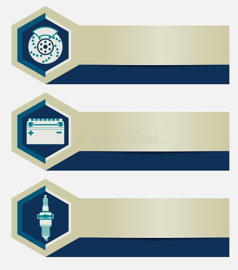 L'ensemble de bannières d'atelier de réparations de voiture avec des icônes conçoivent des éléments Calibres pour la société de p illustration stock