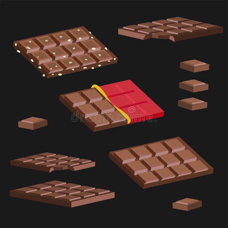 L'ensemble de barres de chocolat sur un fond noir image stock