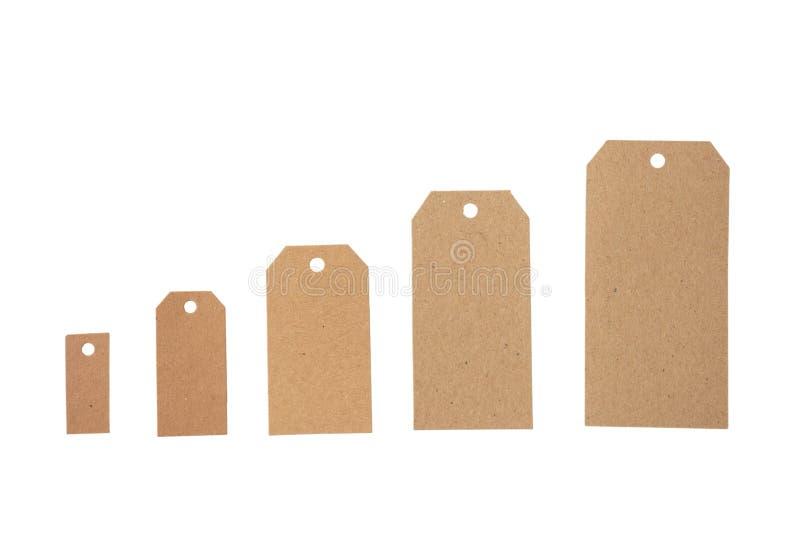 L'ensemble de beige d'isolement réutilisent des étiquettes et copient l'espace sur un fond blanc images stock