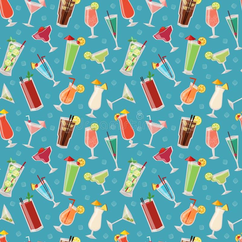 L'ensemble de boissons alcooliques de cocktails font la fête l'illustration sans couture de vecteur de modèle d'alcool illustration de vecteur