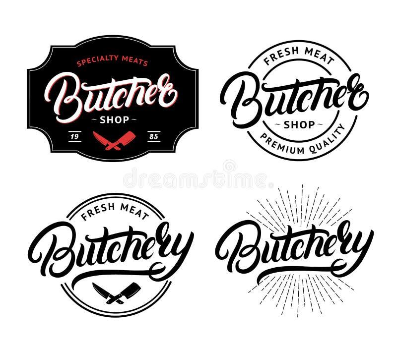 L'ensemble de boucher Shop et la boucherie remettent écrit la lettre du logo, label, insigne, emblème illustration stock