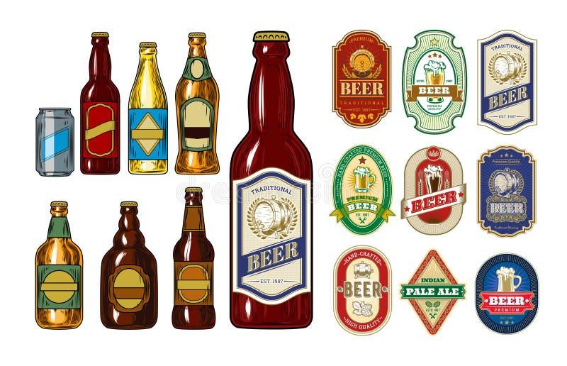L'ensemble de bouteilles à bière d'icônes et les marquent illustration stock
