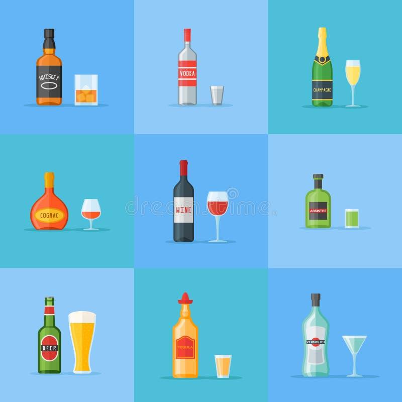 L'ensemble de bouteilles et de verres avec de l'alcool boit les icônes plates de style Illustration de vecteur illustration libre de droits