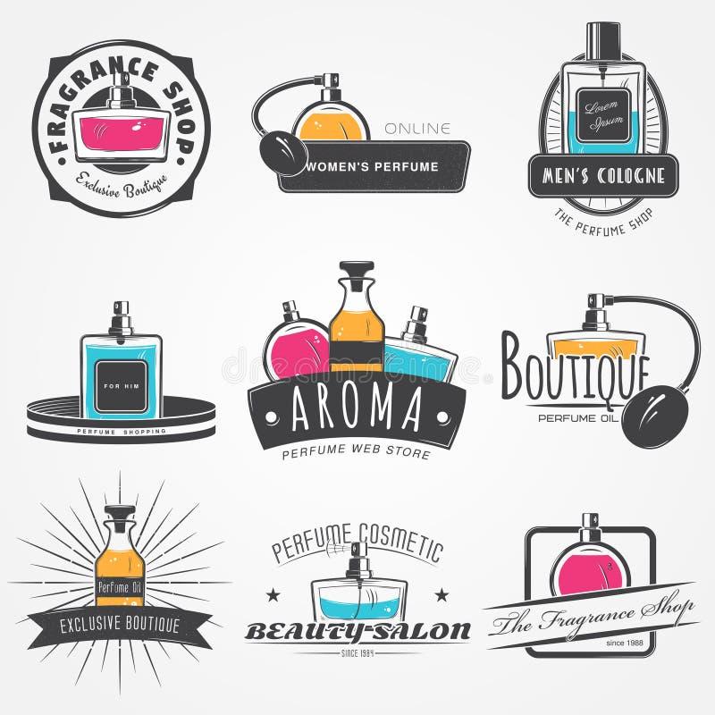 L'ensemble de boutique de parfum Boutique exclusive avec des huiles aromatiques Éléments détaillés Vieux rétro grunge de vintage  image libre de droits