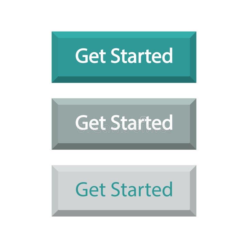 L'ensemble de boutons Get a commencé, d'isolement sur le fond blanc illustration libre de droits