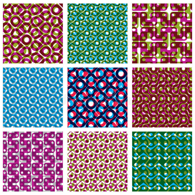 L'ensemble de brightl a pointillé les modèles sans couture, tuiles de point de polka illustration de vecteur