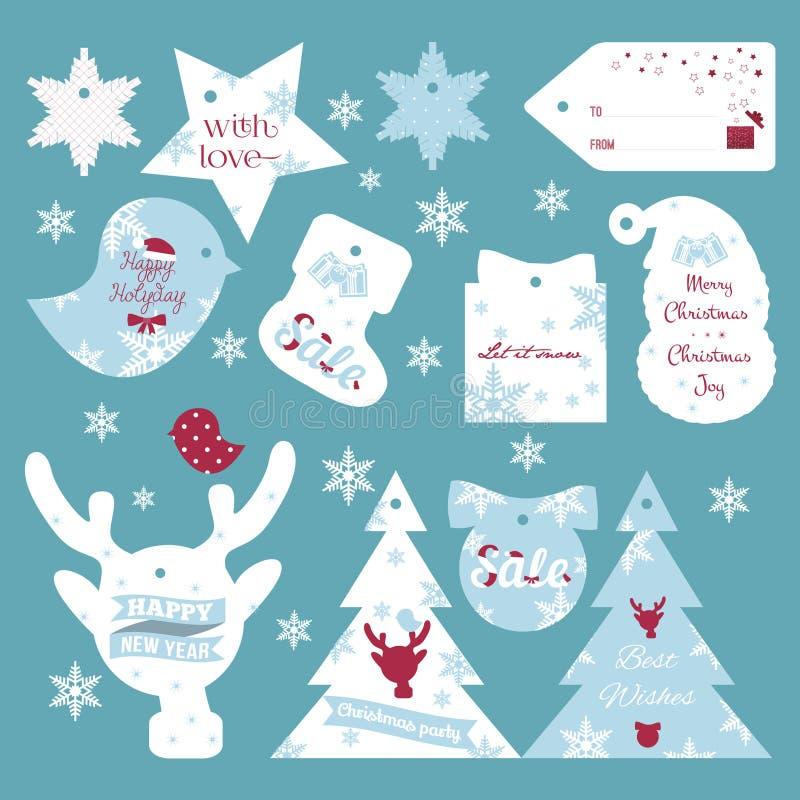 L'ensemble de cadeau de Noël plat de conception et de nouvelle année étiquette photo stock