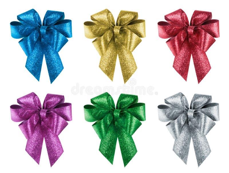 L'ensemble de cadeau gentil cintre dans 6 couleurs différentes image libre de droits