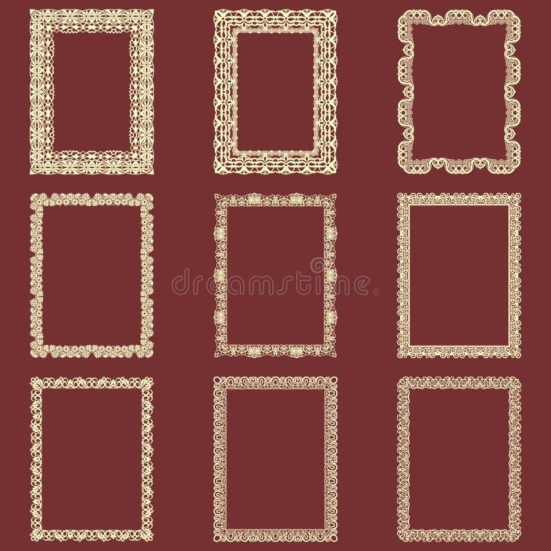 L'ensemble de cadres rectangulaires de vintage a isolé le fond Dirigez les éléments de conception qui peuvent être coupés avec un illustration stock