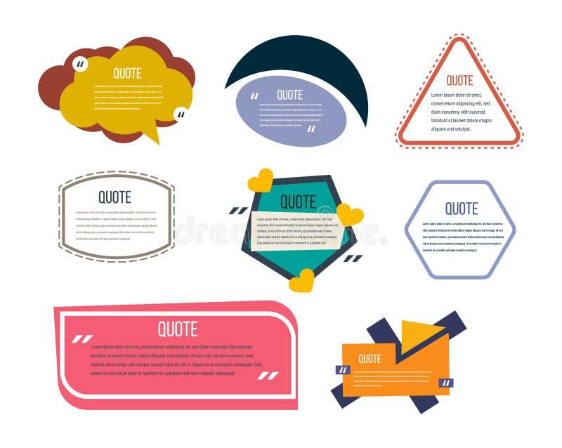 L'ensemble de calibres modernes de couleur de la parole bouillonne, des citations des textes illustration libre de droits