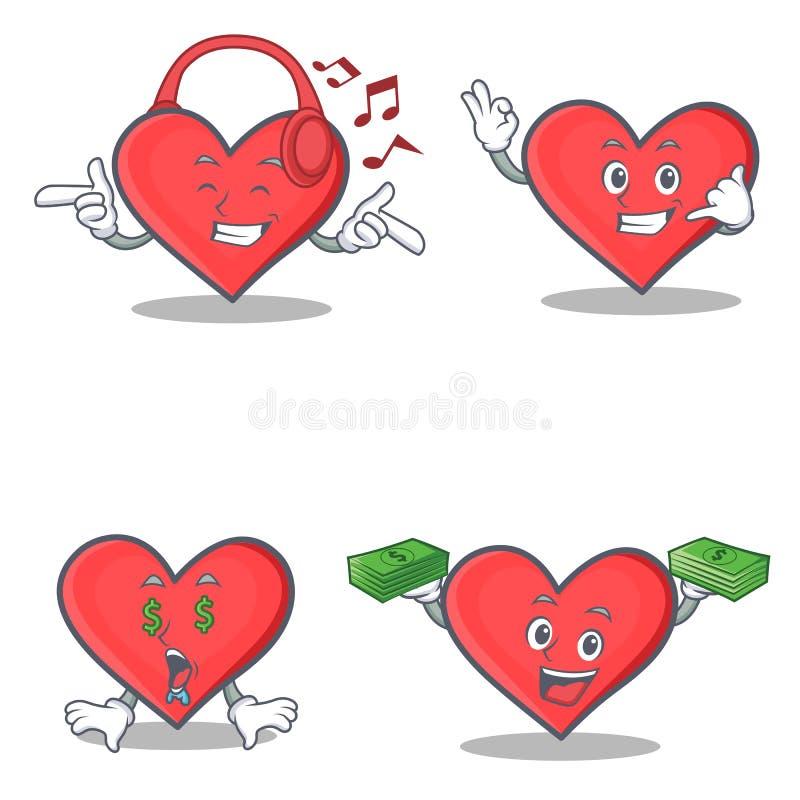 L'ensemble de caractère de coeur avec la musique de écoute m'appellent oeil d'argent illustration de vecteur