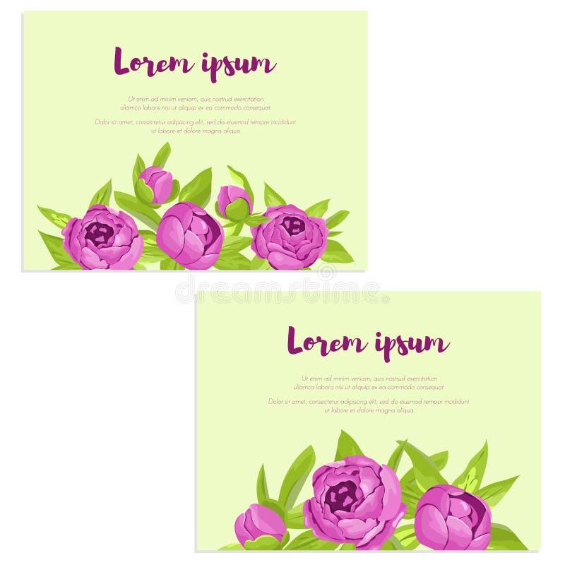 L'ensemble de cartes abstraites d'élégance avec les pivoines pourpres pour épouser l'invitation, carte de mariage, bannière de fé illustration stock