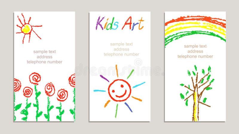 L'ensemble de cartes colorées dessinées par s de ` d'enfant de crayon de cire avec le dessin de main fleurit, arc-en-ciel, le sol illustration libre de droits