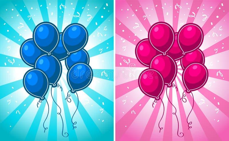 Ballons bleus et roses de partie illustration de vecteur