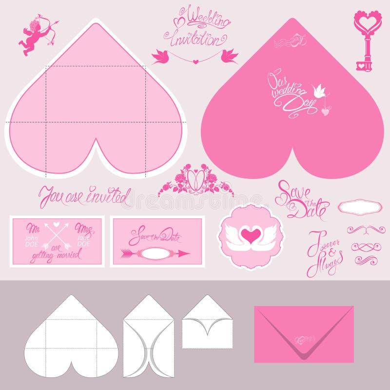 L'ensemble de cartes d'invitation de mariage et les enveloppes au coeur forment illustration stock