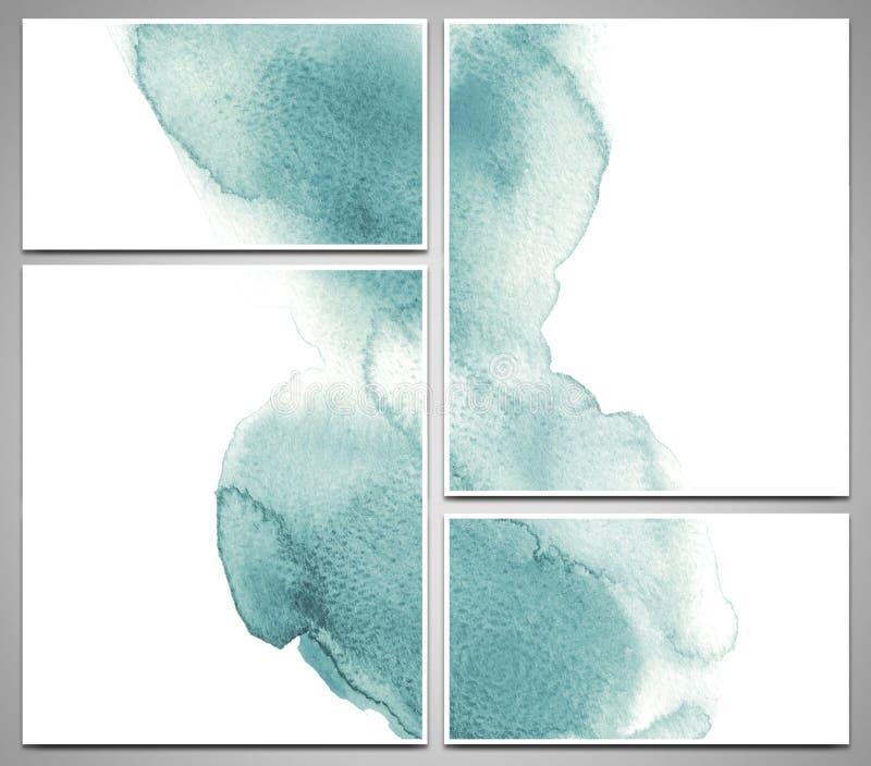 L'ensemble de cartes de visite professionnelle de visite et de calibres de conception peints avec l'aquarelle éclabousse, illustr illustration de vecteur