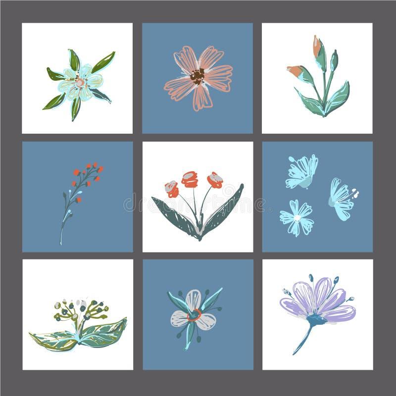 L'ensemble de cartes ou de copies florales mignonnes, affiche, cartes d'invitation, le calibre, cartes de voeux avec des éléments illustration stock