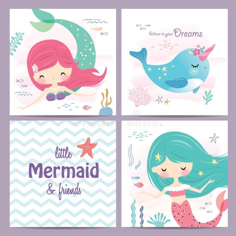L'ensemble de cartes de voeux de sirène et d'espèce marine conçoivent illustration libre de droits