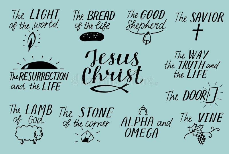 L'ensemble de chrétien de lettrage de 11 mains cite au sujet de Jesus Christ Savior Porte Bon berger Manière, vérité, la vie Alph illustration libre de droits