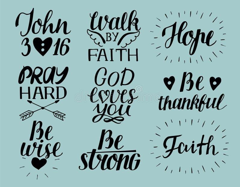 L'ensemble de chrétien de lettrage de 9 mains cite des amours de Dieu vous John3 16 Espoir Priez dur Promenade par la foi Soyez s illustration de vecteur