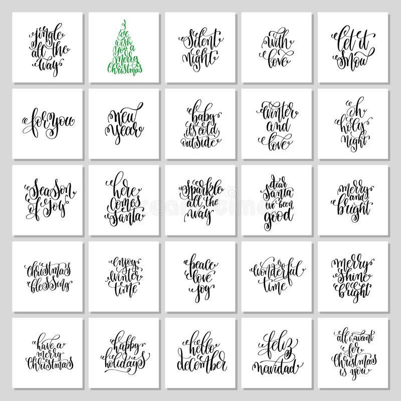 L'ensemble de 25 citations de Noël de lettrage de main conçoivent à la voiture de salutation illustration de vecteur