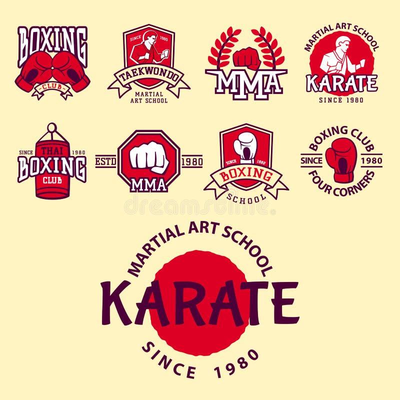L'ensemble de club de combat frais symbolise l'illustration graphique de vecteur de karaté de poing de sport de poinçon de style  illustration stock