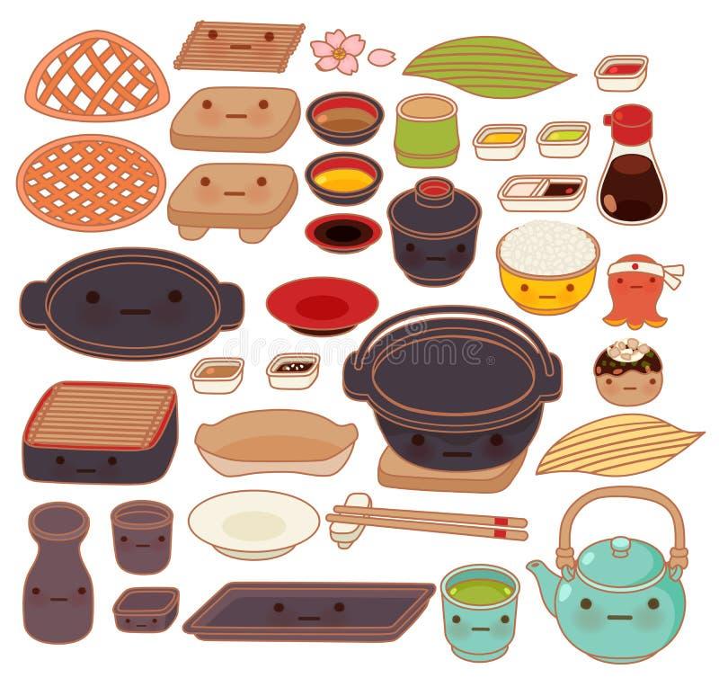 L'ensemble de collection de beaux articles japonais de cuisine gribouillent photographie stock