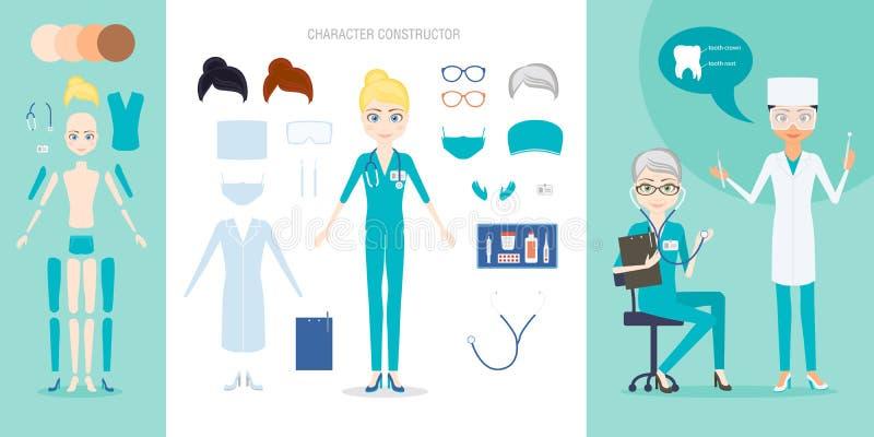 L'ensemble de constructeur de caractère de médecin ou d'infirmière illustration de vecteur