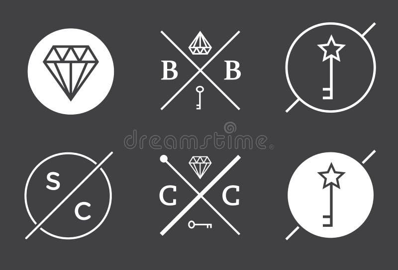 L'ensemble de contour de vecteur Badges ou symbolise le hippie abstrait Logo Te illustration de vecteur