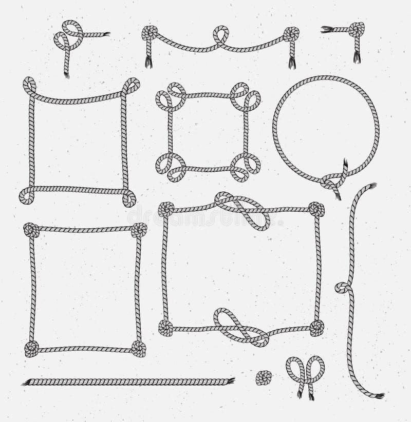 L'ensemble de corde stylisée de vintage de hippie encadre des conceptions graphiques illustration de vecteur