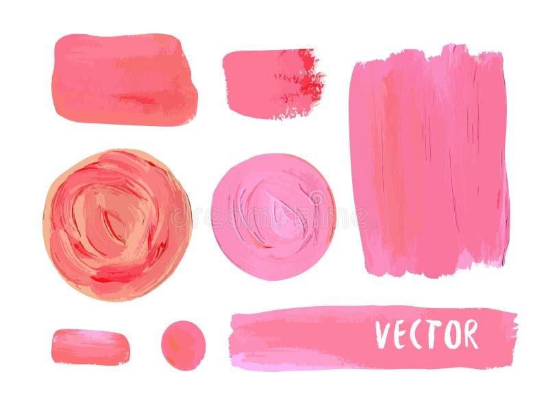 L'ensemble de cosmétique souille la texture de la peinture acrylique Illustration de vecteur dans des couleurs cosmétiques Rose