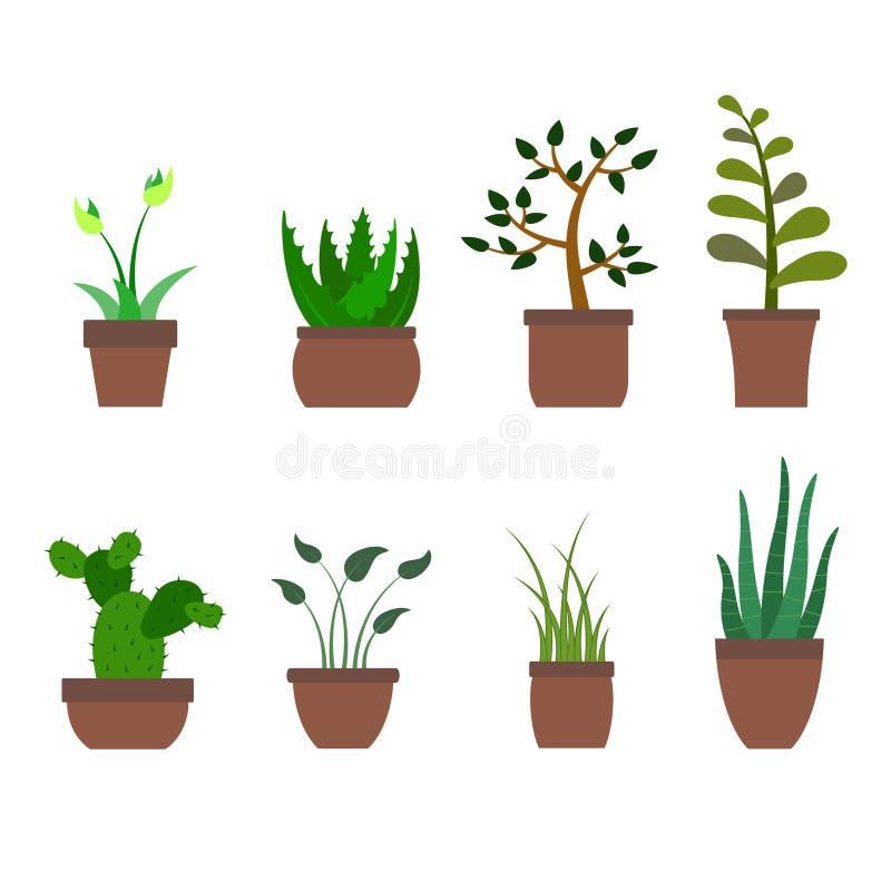 L'ensemble de couleur avec la maison plante des icônes illustration de vecteur