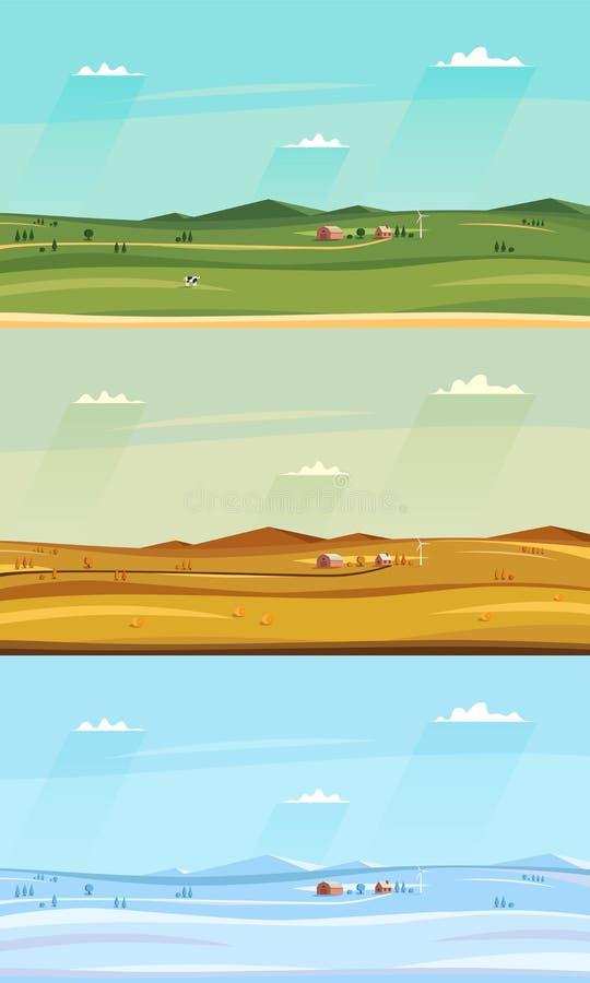 L'ensemble de counryside d'automne, d'hiver et d'été aménage en parc Champs et maison de ferme, ciel avec des nuages illustration libre de droits