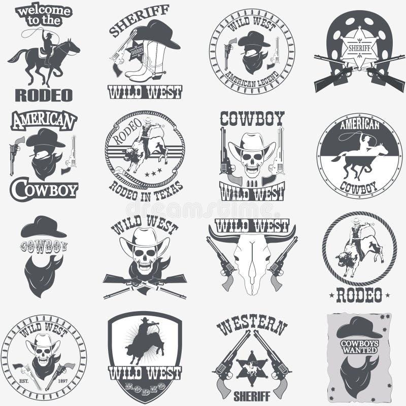 L'ensemble de cowboy occidental sauvage a conçu des éléments illustration stock