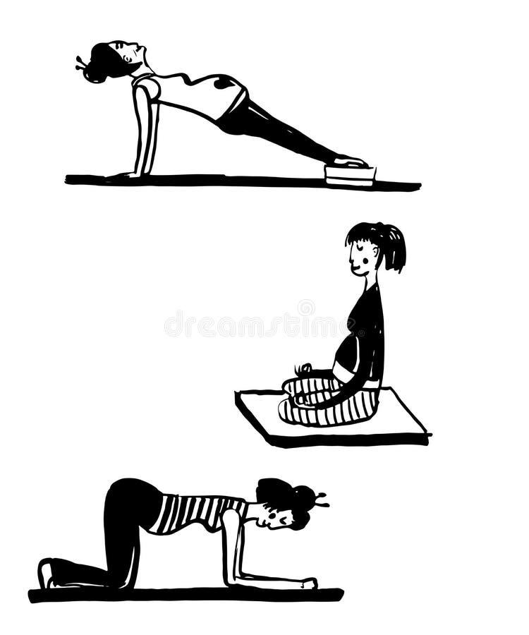 L'ensemble de dessin d'isolement des femmes enceintes faisant le yoga, esquissent l'illustration tirée par la main illustration de vecteur