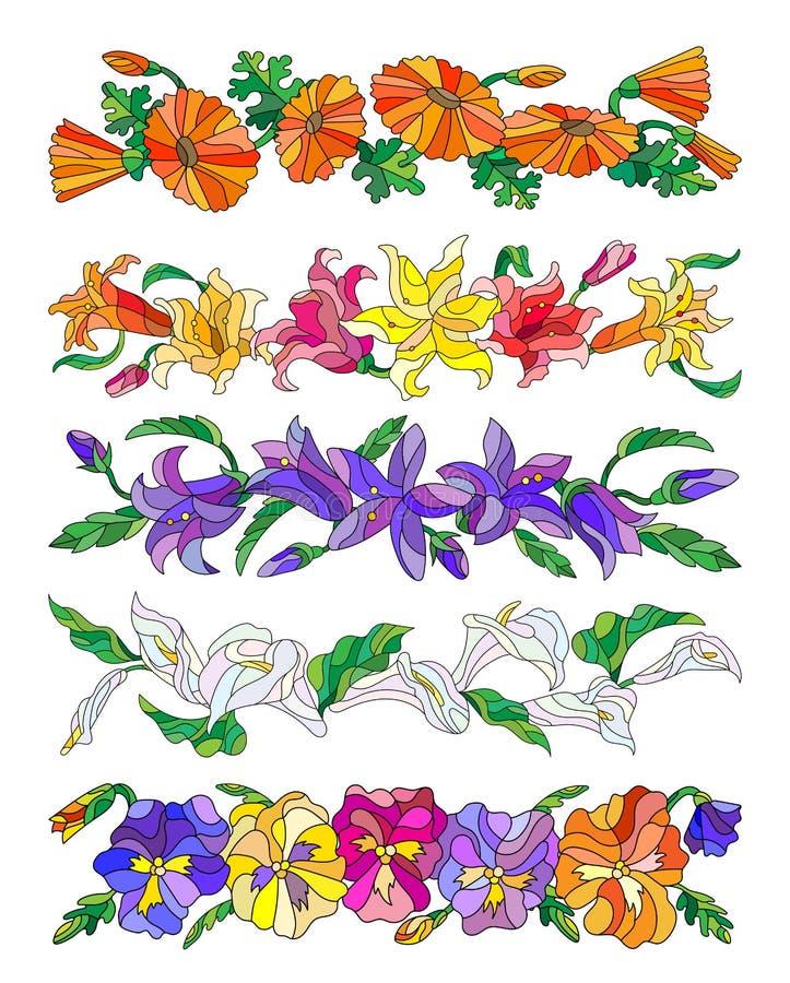 L'ensemble de différentes fleurs dans le style en verre souillé sur un fond blanc, fleurs sans terrain communal il est possible d illustration stock