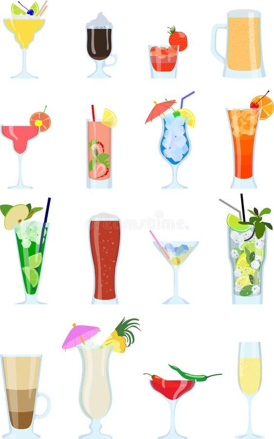 L'ensemble de différents types des coctails et d'autre d'alcool boit illustration libre de droits