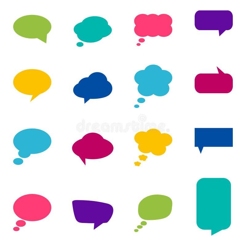 L'ensemble de discours coloré bouillonne, illustration de vecteur illustration de vecteur