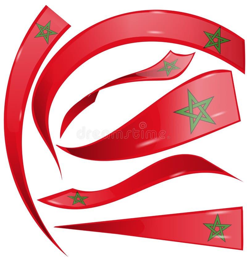L'ensemble de drapeau de Marocco a isolé illustration de vecteur