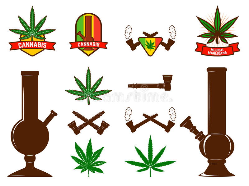 L'ensemble de feuilles de cannabis, bongs illustration de vecteur