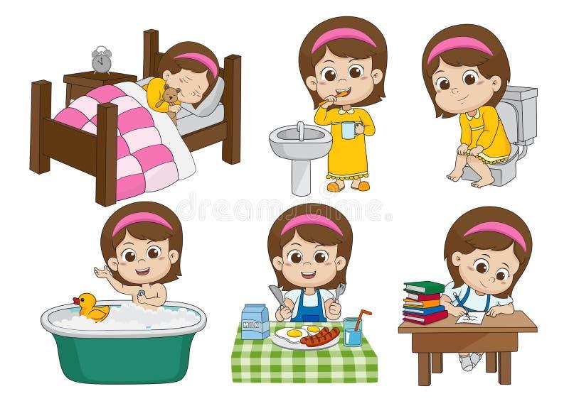 L'ensemble de fille mignonne quotidienne, se réveillent, brossant des dents, pipi d'enfant, prenant un b illustration libre de droits