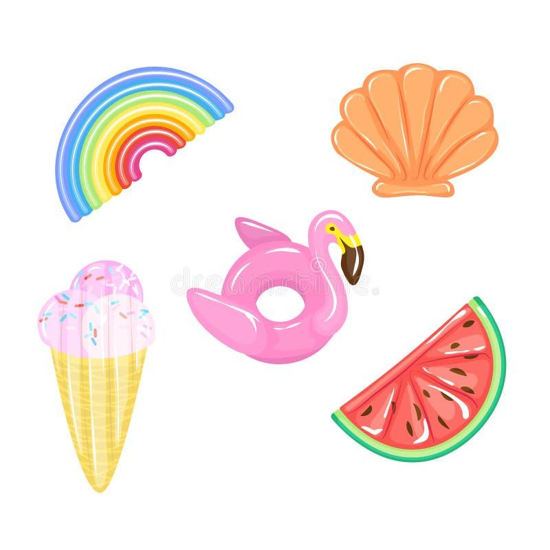 L'ensemble de flamant, arc-en-ciel, pastèque, cornet de crème glacée, piscine de coquillage flotte sur l'eau Type de matelas d'ai illustration de vecteur