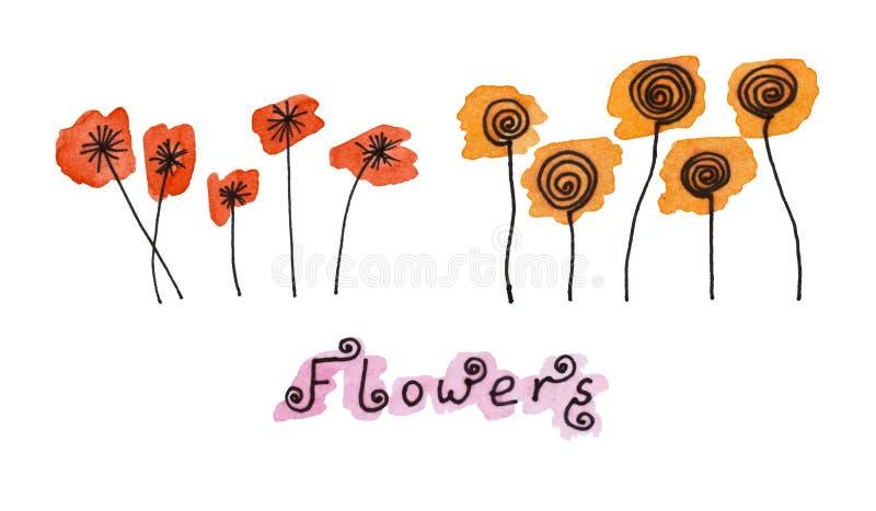 L'ensemble de fleurs tirées par la main noires abstraites sur l'aquarelle éponge dans le style de griffonnage trace image libre de droits