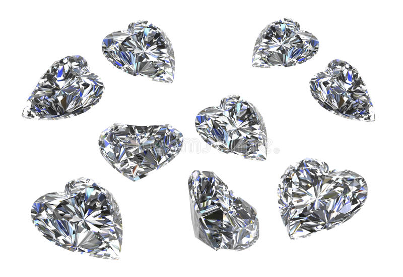 L'ensemble de forme de coeur de diamants sur white-3D rendent illustration stock