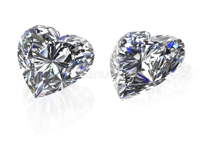 L'ensemble de forme de coeur de diamants sur white-3D rendent illustration de vecteur