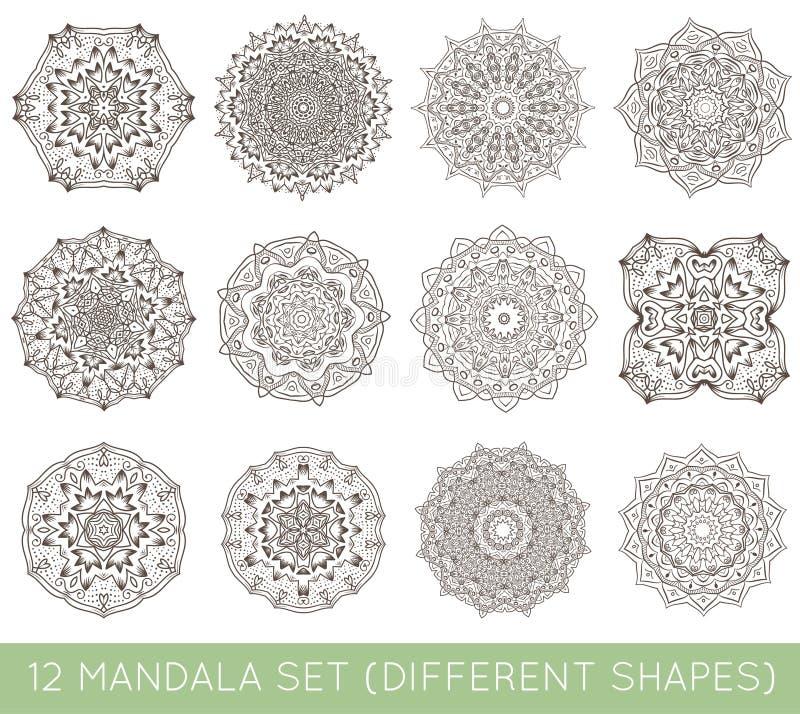 L'ensemble de fractale ethnique Mandala Vector Meditation Tattoo regarde le lik illustration stock